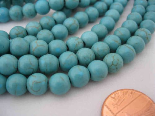 Gemstone Beads - Synthetical Turquoise - 8mm Round Dark Turquoise (25 beads)